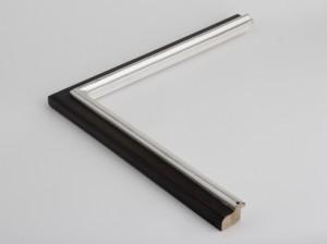 Profil 3424 Ausführung Echtsilber, schwarzes Poliment, Rcüken farbig C09
